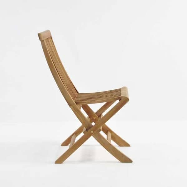 Teak prego folding dining chair side view