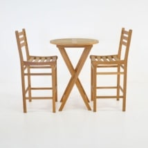 Prima Table with 2 Pager Barstools Teak Bar Set-0