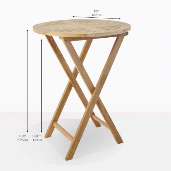 Prima round teak folding bar table
