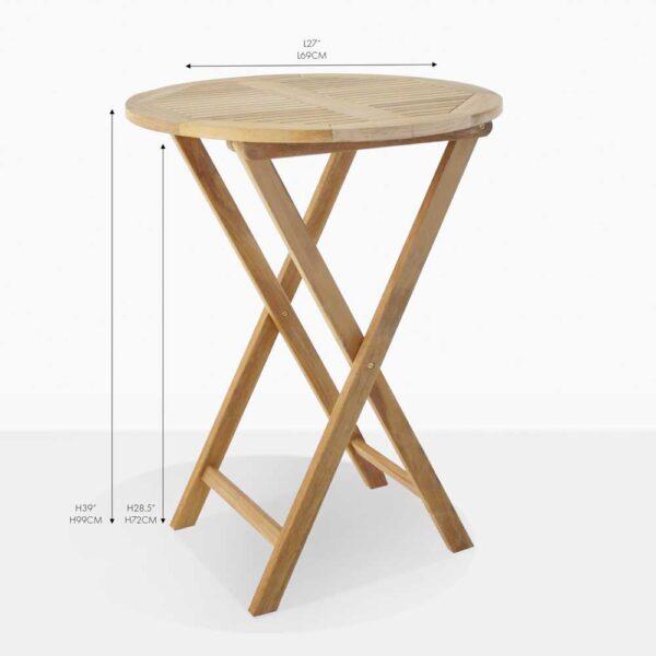 prima teak round folding table