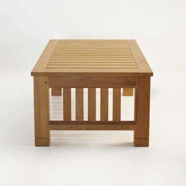 Patio furniture - raffles teak large coffee table end view