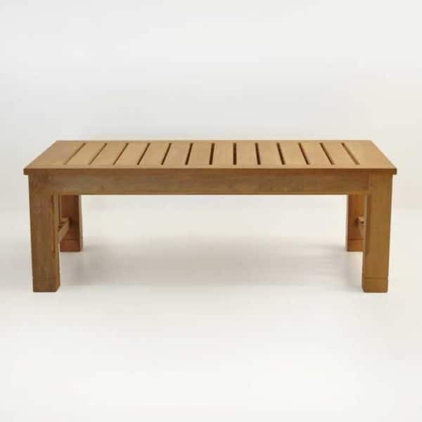 Patio furniture - raffles teak large coffee table side view