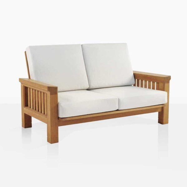 Raffles Teak Loveseat With White Cushions