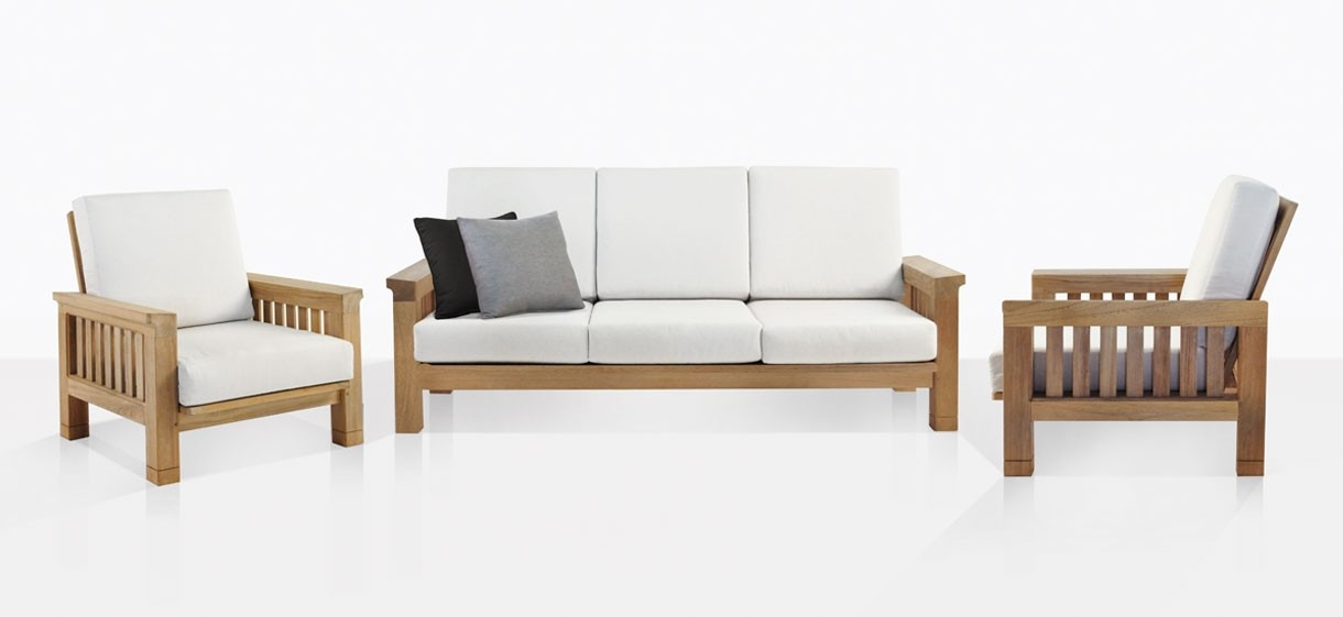 Raffles A-Grade Teak Sofa And Club Chairs