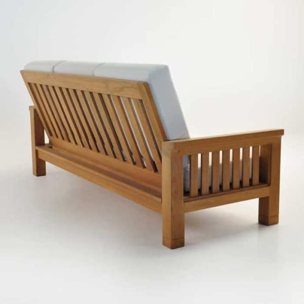 Patio furniture - raffles teak sofa back angle view