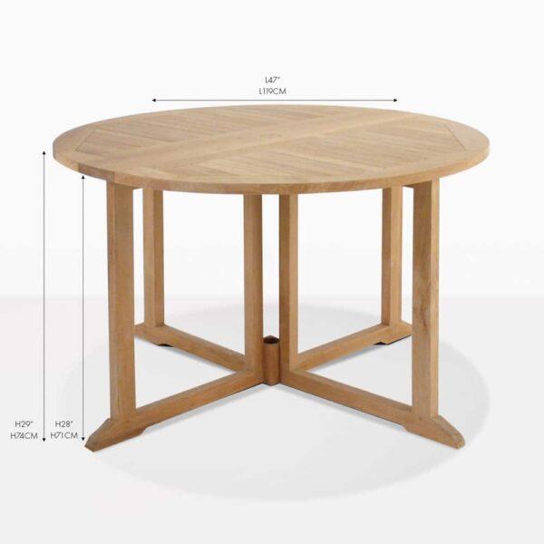 drop leaf round folding teak dining table