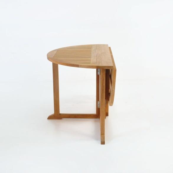 round teak drop leaf table folded