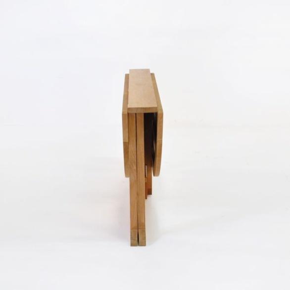 round teak drop leaf table collapsed
