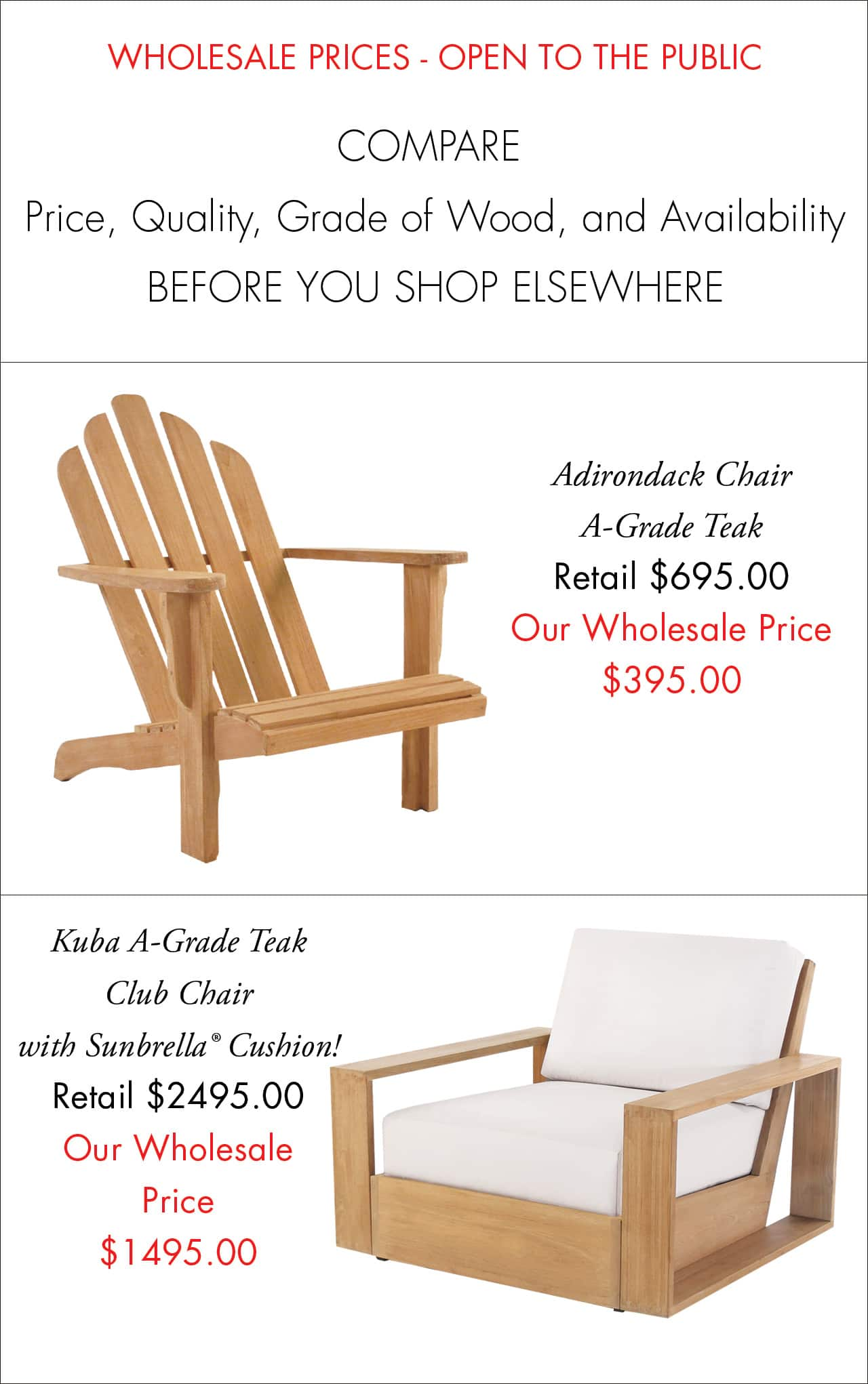 Adirondack Teak Chair Wholesale