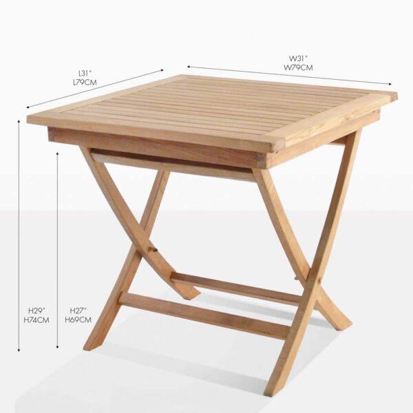 square teak folding table