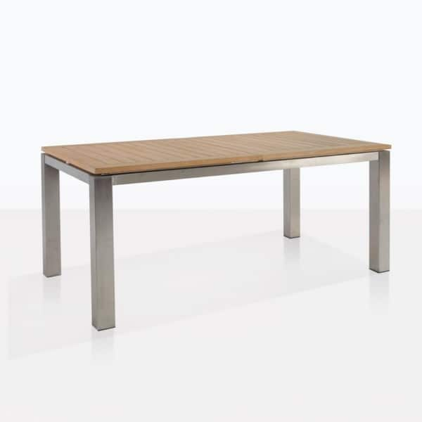 Stainless Steel And Teak Rectangle Dining Table