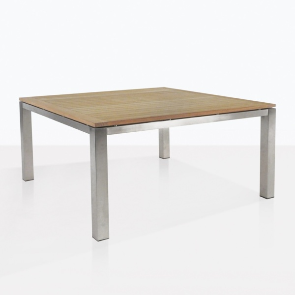 Stainless Steel And Teak Square Dining Table