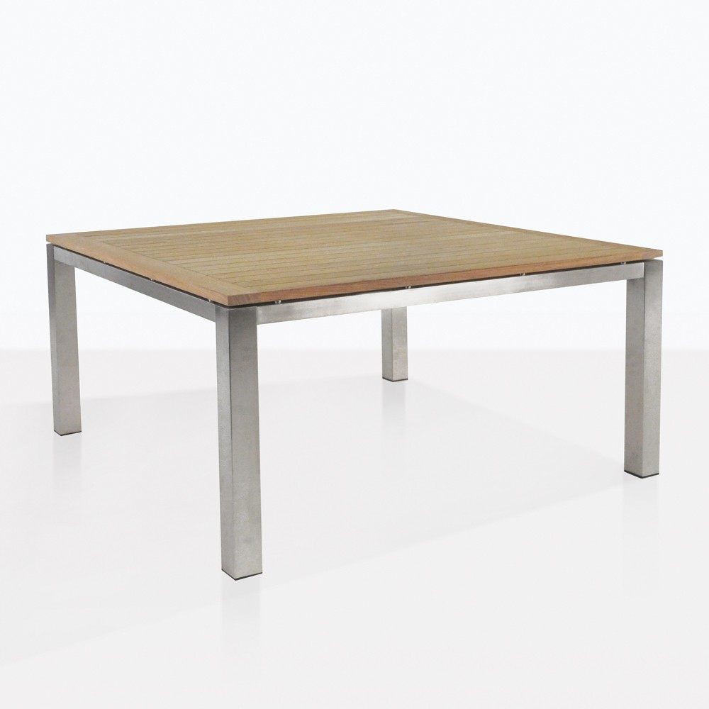 Square Stainless And Teak Outdoor Dining Table 60