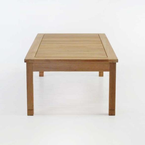 st tropez rectangle teak coffee table end view