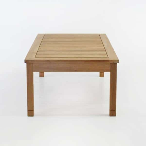 st tropez rectangle teak coffee table end view