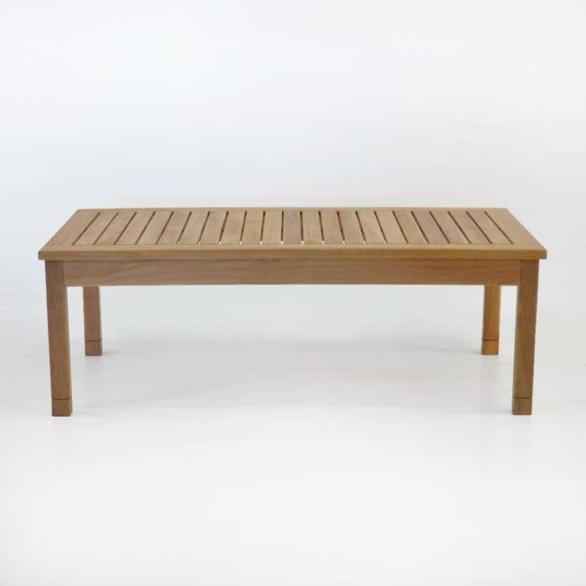 st tropez rectangle teak coffee table side view