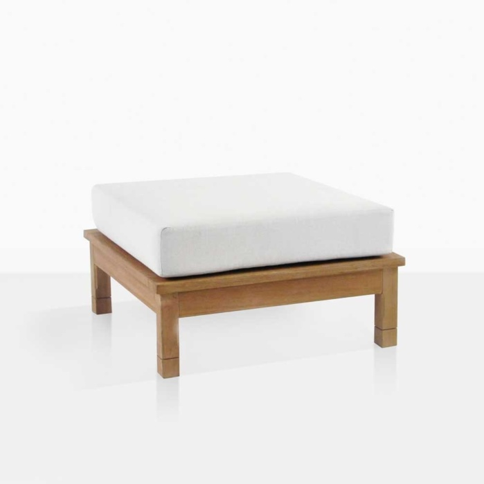 St. Tropez Teak Outdoor Ottoman With Cushion