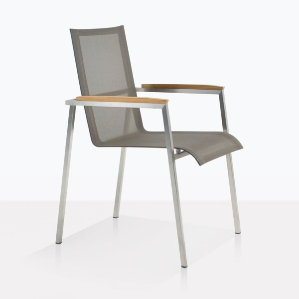 Summer Stainless Steel Dining Arm Chair In Taupe