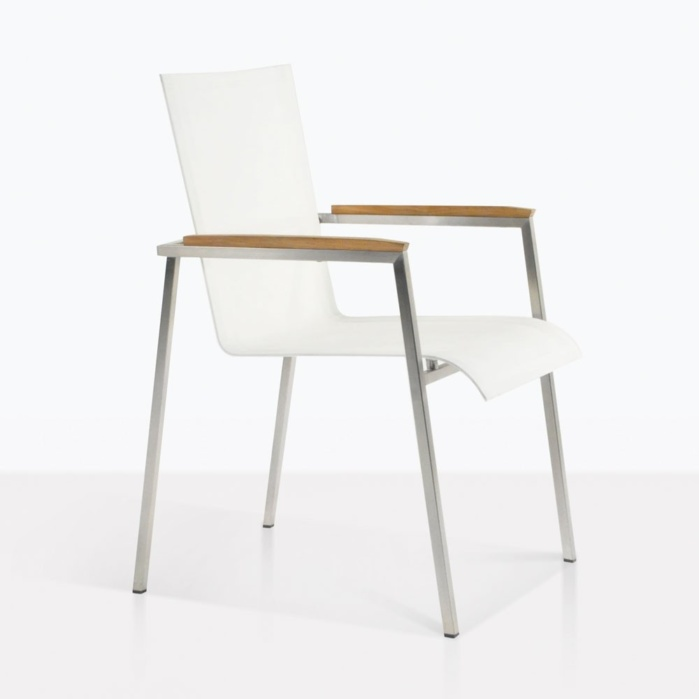 Summer Stacking Dining Chair With White Mesh