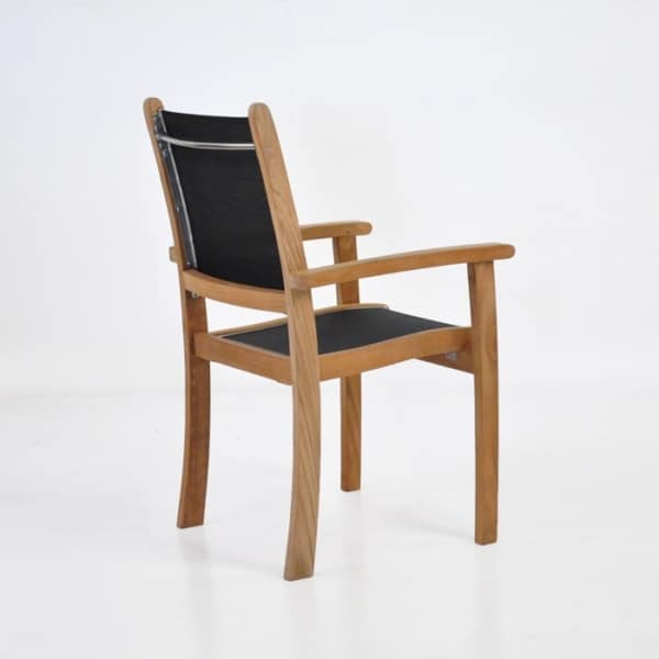 teak and mesh outdoor stacking chair
