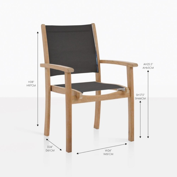 Tango black mesh and teak folding chair