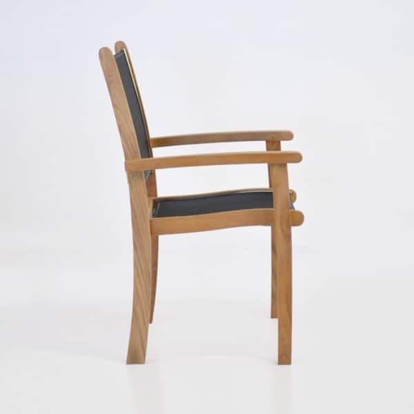 teak and mesh stacking chair