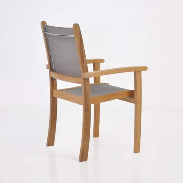 teak and mesh outdoor dining chair