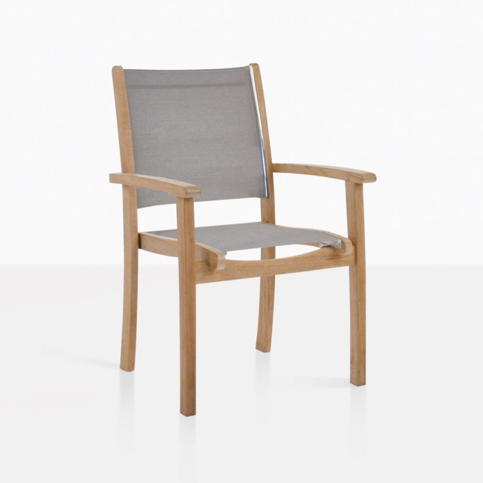 Tango Teak And Taupe Mesh Dining Chair