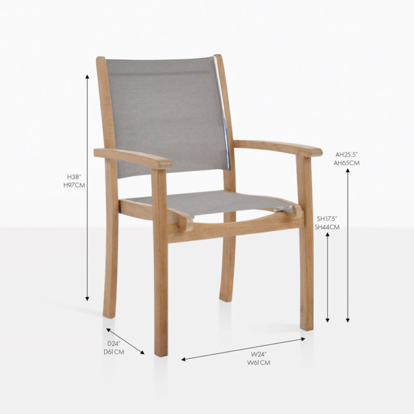 tango taupe stacking teak and mesh chair