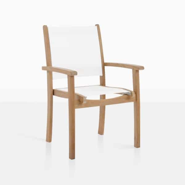 Tango White Mesh And Teak Outdoor Dining Chair