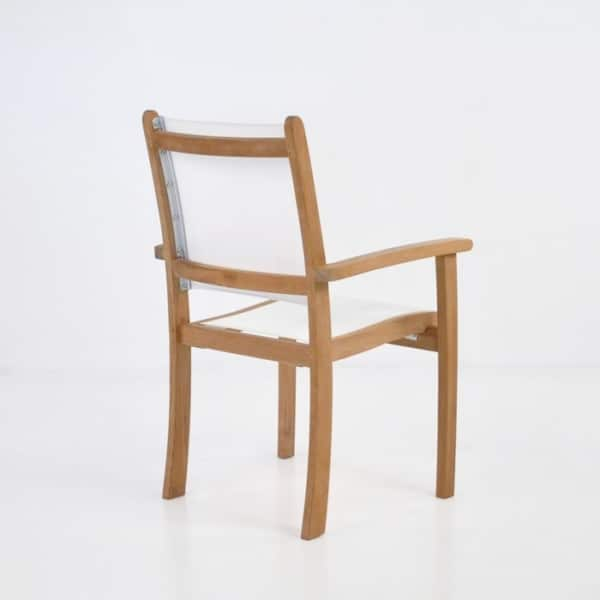white mesh and teak dining chair