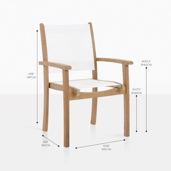tango white stacking teak and mesh chair