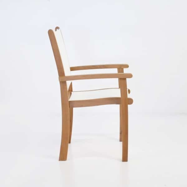 folding teak and mesh dining chair