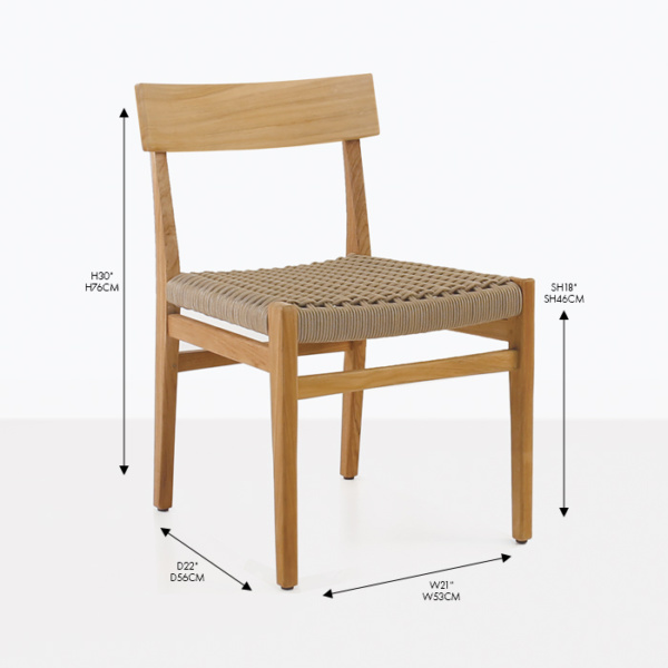 tokio teak and rope dining side chair