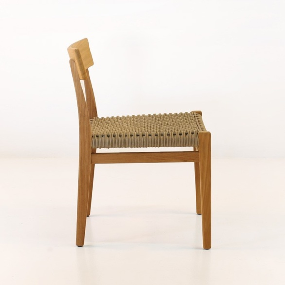 a-grade teak dining chair side view