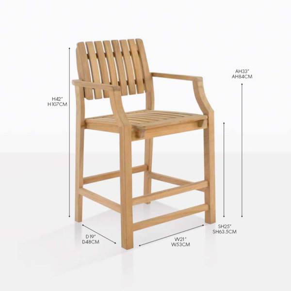 toscana teak counter arm chair