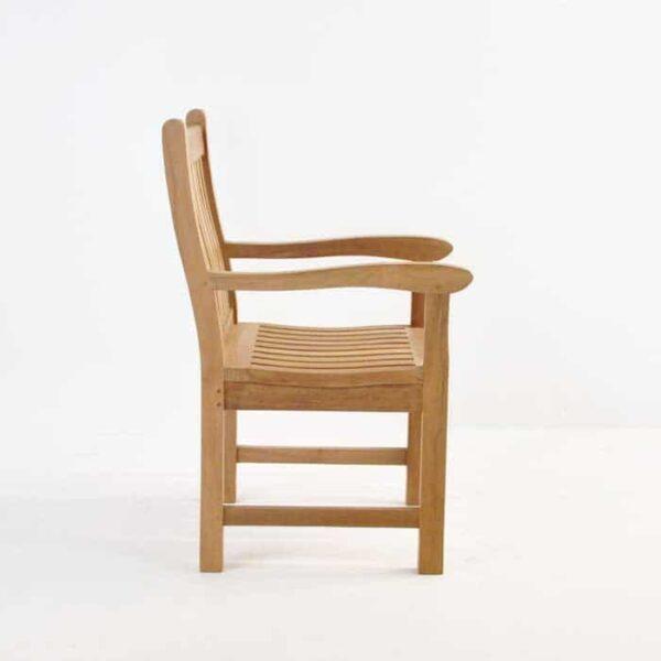 wave teak dining armchair side