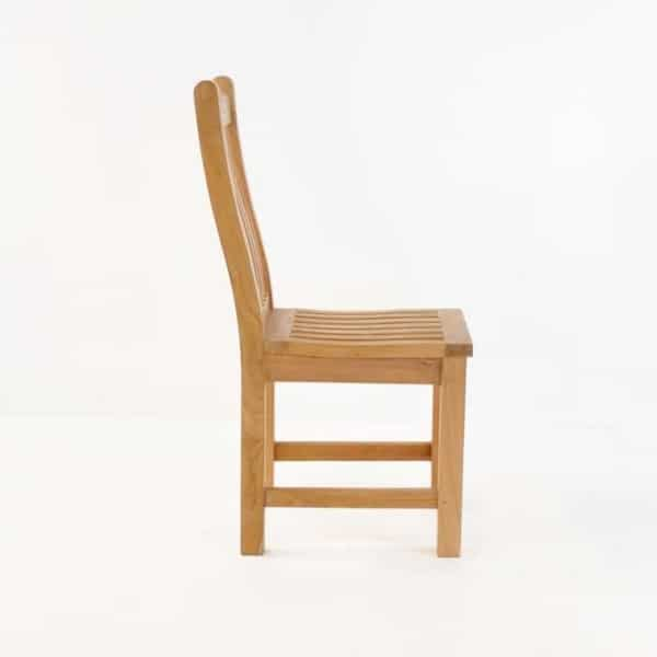 wave teak dining side chair side