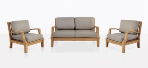 Patio Furniture - Westminster A-Grade Teak Outdoor Loveseat And Two Club Chairs