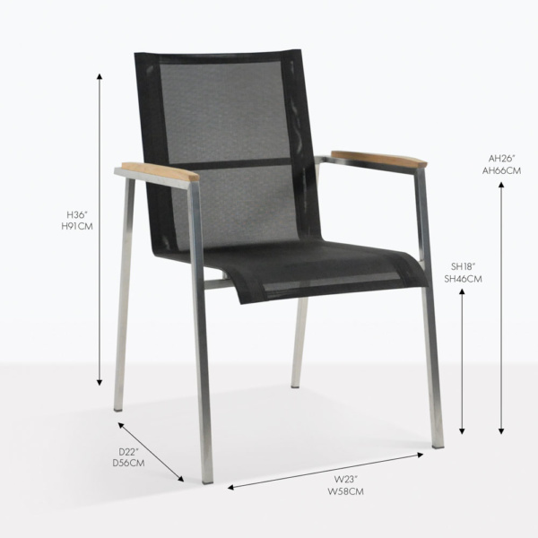 Mesh and Steel stacking arm chair black