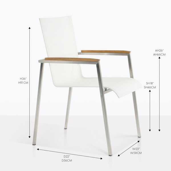 Mesh and Steel stacking arm chair white