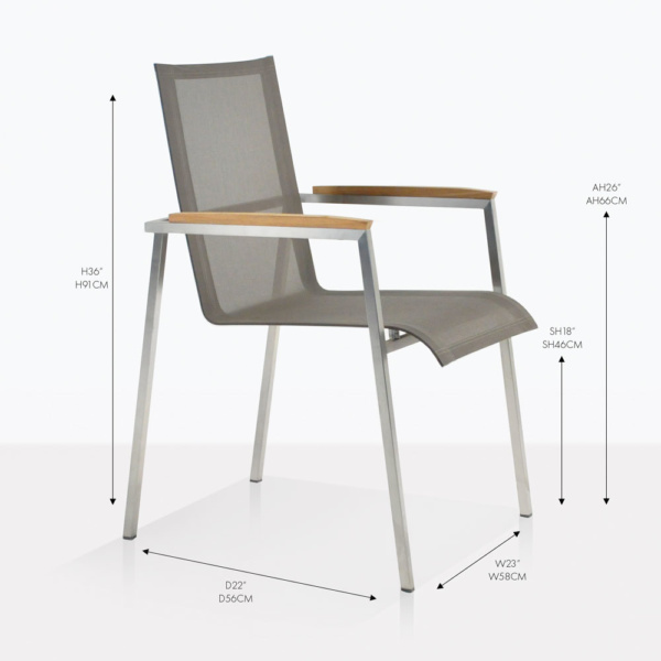 Mesh and Steel stacking arm chair taupe