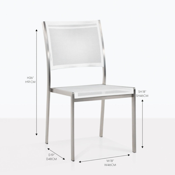 Mesh and Steel stacking side chair white
