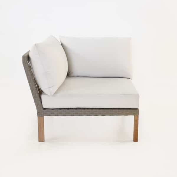 teak and sunbrella sectional sofa corner