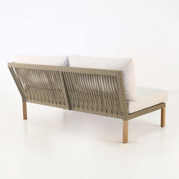 outdoor teak daybed with white sunbrella cushions