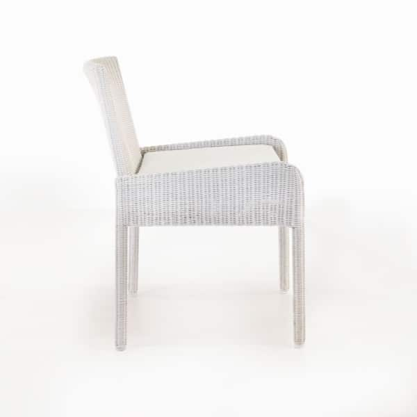 outdoor wicker dining armchair with cushion