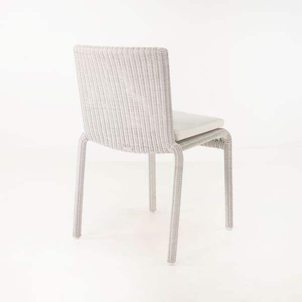 outdoor wicker dining chair white back