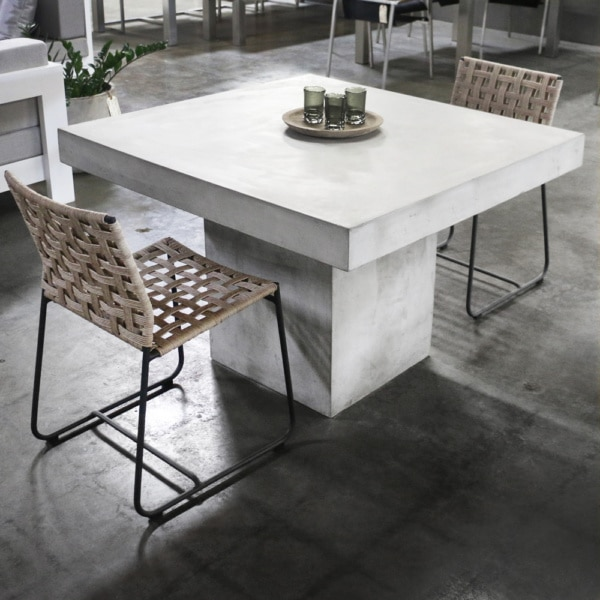 Blok Concrete Square Dining Table in Showroom