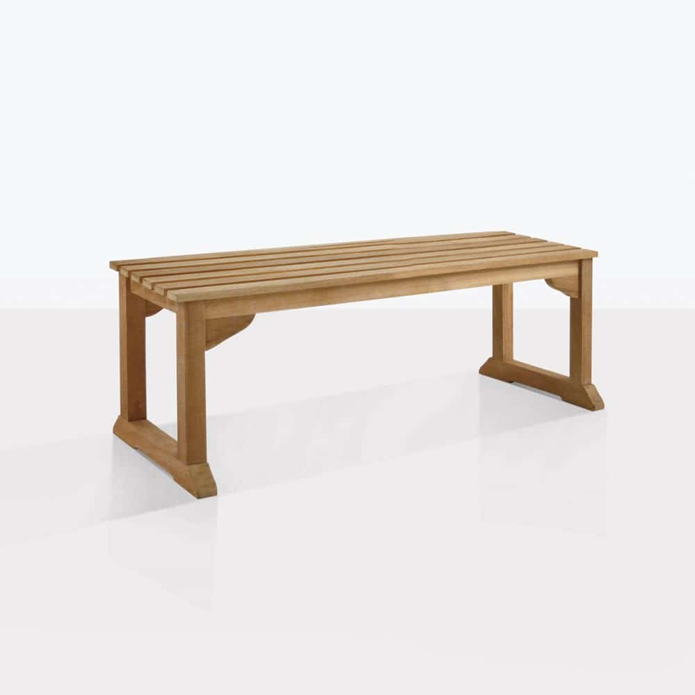 Classic Teak Backless Bench Outdoor Dining Patio Benches