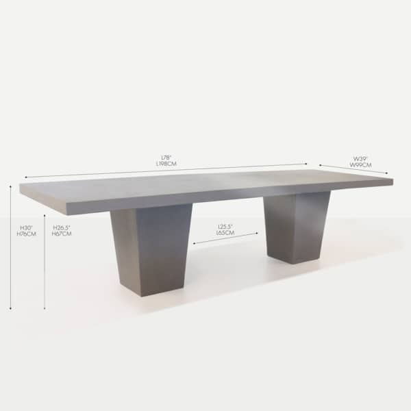 concrete rectangular tapered dining table